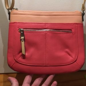 Tignanello small cross body coral/tan leather 1x